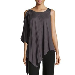 NWT Halston Heritage Pleated Cold Shoulder Top